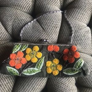 Handbags - Green clutch with beaded flowers
